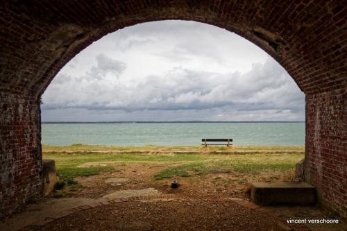 UK, Isle of Wight, Fort Victoria, bench