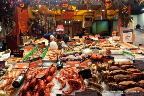 Trouville. Marché aux fruits de mer.